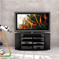 Sonax - Sonax Rio 55-inch Midnight Black TV Stand - Organize your family's media in this sleek black TV stand. With room for one large television and multiple devices, this piece allows you to condense your entertainment needs into one compact area. A cable management system keeps cords untangled.