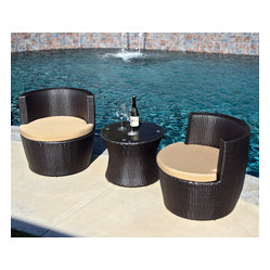 Pineapple 3-Piece Stacking Patio Chat Set, Beige Cushions