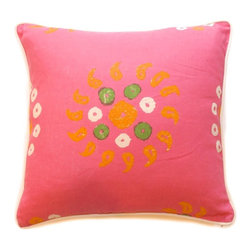 Marrakech Pink Throw Pillow - Even Million Dollar Decorator Kathryrn M. Ireland has a crush on pink and orange. I love her Marrakech throw pillow shown here. It would be sweet to finish off a little girl's bed.