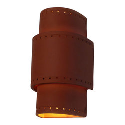 Clayworks Studio/Gallery - Tiered Ceramic Sconce - The tiered style is often chosen for a Southwestern or Mediterranean look. It is handcrafted in Austin, Texas and is available in natural terra cotta or white clay.  Sconces are paintable so that you can customize them to your own color palette.