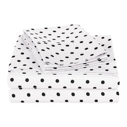 600 Thread Count Twin XL Sheet Set Cotton Rich Polka Dot - White - 600 Twin XL Sheet Set Cotton Rich Polka Dot - White