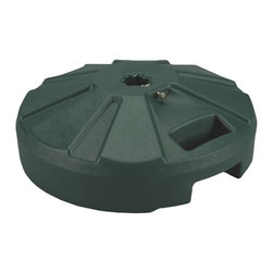 """PLC - Green Umbrella Base - Molded resin umbrella base with stainless steel hardware. For use with umbrellas up to a 1 -1/2"""" diam. pole. Easy fill spout and cap to secure up to 50 lbs. of sand filler for weight. Ideal for use under outdoor dining tables.  Dimensions: 6-1/2 """" tall X 16"""" diam."""