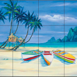 The Tile Mural Store (USA) - Tile Mural - Archipelago 2 - Kitchen Backsplash Ideas - This beautiful artwork by Paul Brent has been digitally reproduced for tiles and depicts a small piece of paradise.  Beach scene tile murals are great as part of your kitchen backsplash tile project or your tub and shower surround bathroom tile project. Waterview images on tiles such as tiles with beach scenes and sunset scenes on tiles.  Tropical tile scenes add a unique element to your tiling project and are a great kitchen backsplash  or bathroom idea. Use one or two of our beach scene tile murals for a wall tile project in any room in your home for your wall tile project.