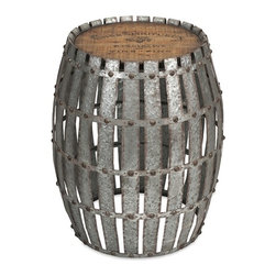 iMax - Gibbs Wood and Metal Barrel - You will love the Gibbs wood and metal Barrel. Constructed of galvanized, riveted metal strips with a wooden top bearing a vintage wine logo, it will lend character when used as a side table.