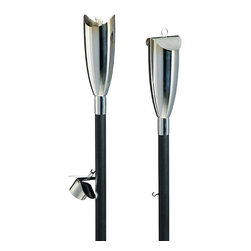 Frontgate - Set of Two Lucca Outdoor Outdoor Torches - Reservoir holds 30 ounces of paraffin oil (sold separately). Cover after use to ensure that water does not enter and dilute the oil. Pole has spiked end for easy insertion into the ground. Fiberglass wick sits lower in torch to create larger swirling flame. Pole is steel with black powder coating. Highlight your patio, walkways, or firepit with the warm glow of natural light from our sleek Lucca Torch. A lower-sitting fiberglass wick creates larger flames for a dazzling nighttime display. Each torch includes a snuffer.  .  .  .  .  . Simple assembly; attach torch to pole . In Antique Brass and Stainless Steel . Imported.