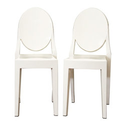Baxton Studio - Baxton Studio Ivory Acrylic Ghost Chair - These otherworldly opaque ivory accent or dining chairs are simultaneously formal, modern, classic, and lightweight. Each chair is a sturdy acrylic and is conveniently stackable. Included on each foot is a plastic non-marking foot to help protect sensitive flooring. These chairs are also available with armrests as well as in transparent clear and opaque black.