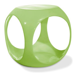 Ave Six - Molded Occasional Table in Green - Whether you use it in an office or home setting, the playful, modern design of this cube-shaped occasional table will be a bold addition to your decor. The table features an open design to allow for interior storage, and is a molded, high gloss item available in your choice of colors. High gloss, molded table with internal storage area for magazines, books and more. See-through design includes four side openings for easy storage area access. Pictured in Green. Some assembly required. 15 in. W x 15 in. D x 17 in. H