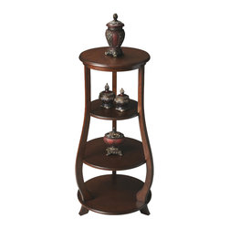 Butler Specialty - Butler Etagere - Two adjustable shelves plus top and base provide abundant display possibilities on this elegant etagere. It is handcrafted from Poplar and wood products with cherry veneers in a warm Nutmeg finish.