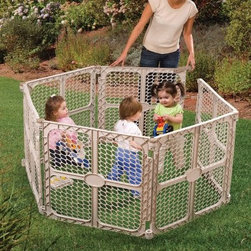 "Summer Infant Secure Surround Play Safe Playpen - Perfect for the family room den or outside the Summer Infant Secure Surround Play Safe Play Yard creates a great secure play space. With over 18 square feet of space within the play yard when using all six panels your child will have all the room he or she needs to roll crawl stumble or any combination of the three. The door panels swings both in and out and features a handle for quick access. The panels are 30 inches tall. Made of durable plastic this lightweight and easily portable play yard can be expected to be used for more than one child. About Summer InfantSummer Infant Inc. is passionate about delivering great products for moms dads and caregivers. The company is solely motivated by its mission of """"delivering the best for you and your baby"""" and the emotional connection you have with your child. Summer Infant's focus is on building a trust with its customers so they know that they are purchasing nothing but the best. Summer Infant continues to lead in categories such as bath gates bedrails monitors infant health and more."