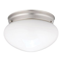 BUILDER - BUILDER Ceiling Space Transitional Flush Mount Ceiling Light (Pack of 12) X-IN60 - A fluid spherical shape is complimented by the clean color of the white glass shade on this Kichler Lighting flush mount ceiling light. From the Ceiling Space Collection, the fixture is complimented by a Brushed Nickel finish. Comes in a pack of 12.