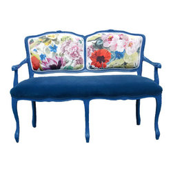 EcoFirstArt - Beautiful Blue Blossom Bench - You'll quickly find this exquisite bench to be a lovely lounge area for two. It serves as a comfortable spot for another seamless conversation with a close friend, or as a romantic retreat as you begin a budding relationship.