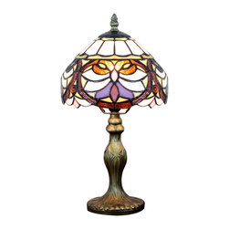 Custom Stained Glass Tiffany Style Table Lamps - One of the most distinctive features of the Tiffany style lamps is that each piece is carefully handcrafted. With its hand-crafted shade in Barocco pattern, this lamp gives off a soft, uniform light glow, adding unique taste of gracefulness to your home or office.