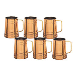 Solid Copper Tankards With Brass Handles, Set of 6 - This set of 6 Solid Copper tankards will make you and your crew feel like you're drinking premium brew, even if it's really just cheap domestic.  These handsome steins features solid copper construction with a protective, tarnish-resistant coating, nickel linings and comfortable solid brass handles.