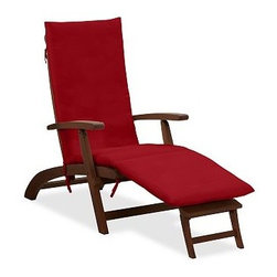 Sunbrella(R) Steamer Single Chaise Cushion, Solid, Jockey Red - Add the finishing touch to outdoor furniture with our plush, colorful cushions. Designed to be fade resistant, weather resistant, quick to dry and soft to the touch, they're the perfect match for the strength and durability of our Chatham Collection. Click to read an article on {{link path='pages/popups/chatham-care_popup.html' class='popup' width='640' height='700'}}recommended care{{/link}}. Thick, comfortable cushions are available in water-repellent ring-spun polyester canvas or Sunbrella(R) fabric. Machine wash removable slipcover. Spot clean nonremovable slipcover. Sunbrella(R) cushions and slipcovers are special order items which receive delivery in 3-4 weeks. Please click on the shipping tab for shipping and return information. Imported. View our {{link path='pages/popups/fb-outdoor.html' class='popup' width='480' height='300'}}Furniture Brochure{{/link}}.