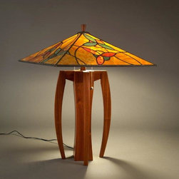 Flower Lamp - Sapele and Glass Lamp with flower motif by  Terra Firma Design