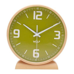 """Wolf Designs - 8"""" Round Mantel Clock-Green - Our 8"""" Round Mantel Clock display big, clear numbers complete with hours, minutes, and seconds allows you to tell time down to the tee. This stark, contemporary design features an 8"""" green dial contrasted with white hands and sans-serif numbering for easy readability. A large bright face surrounded by high-quality wood construction combines both elements of the classic and modern."""