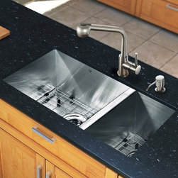 """Vigo - All in One 29"""" Undermount Stainless Steel Double Bowl Kitchen Sink and Faucet Se - Add some sophistication to your kitchen with a VIGO All in One Kitchen Set featuring a 29"""" Undermount kitchen sink, faucet, soap dispenser, two matching bottom grids and two sink strainers.; This double bowl sink is manufactured with 16 gauge premium 304 Series stainless steel construction with commercial grade premium scratch resistant satin finish; Fully undercoated and padded with a unique multi layer sound eliminating technology, which also prevents condensation.; All VIGO kitchen sinks are warranted against rust; Distinctive angular zero radius corner design with rear standard 3 1/2"""" drain placement; Exterior dimensions: 29""""W x 20"""" D; Larger bowl's interior dimension: 17""""W x 18"""" D; Smaller bowl's interior dimension: 9""""W x 18"""" D; Depth: 10""""; Required interior cabinet space: 31""""; All mounting hardware and cutout template provided for 1/8"""" reveal or flush installation; Sink model: VG2920BL; Faucet features a dual function pull-out spray head for aerated flow or powerful spray, and is made of solid brass with stainless steel finish.; Includes a spray face that resists mineral buildup and is easy-to-clean; High-quality ceramic disc cartridge; Retractable 360-degree swivel spout expandable up to 30""""; Single lever water and temperature control; All mounting hardware and hot/cold waterlines are included; Water pressure tested for industry standard, 2.2 GPM Flow Rate; Standard US plumbing 3/8"""" connections; Faucet height: 13''; Spout reach: 8''; Kitchen sink and faucet are cUPC and NSF-61 certified by IAPMO.; Faucet is ADA Compliant; 2-hole installation with soap dispenser; Faucet model: VG02019ST; Soap dispenser is solid brass with stainless steel finish and fits 1 1/2"""" opening with a 3 1/2"""" spout projection.; Matching bottom grids are chrome-plated stainless steel with vinyl feet and protective bumpers.; Sink strainers are made of solid brass in chrome finish; Limited lifetime war"""