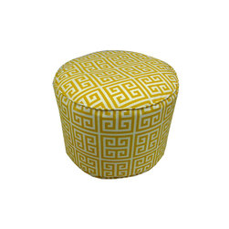 "Lava - Greek Sun Pouf - 12"" Tall x 17"" Round (Indoor/Outdoor) - 100% polyester cover, 100% polyestyrene bead fill. Suitable for use indoors or out. Made in USA. Spot clean only."