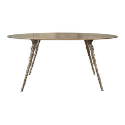 "Cast/Plate Table by Rob Zinn for blankblank - Foundry cast solid bronze legs support slim 3/8"" plate steel top.  Top available in plated bronze or powdercoated.  Legs available in natural, patinated or powdercoated."