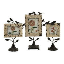 """IMAX - Mona Photo Frames - Set of 3 - Set of three romantic tin and iron photo fames in various sizes with bases and perched birds. Item Dimensions: (11.5-13.25-15""""h x 3.75-4.5""""w x 6-6.75-8.5"""")"""