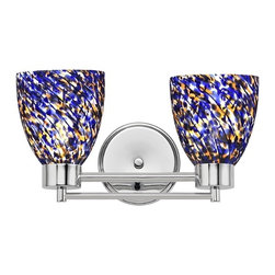 Design Classics Lighting - Modern Bathroom Light with Blue Glass in Chrome Finish - 702-26 GL1009MB - Contemporary / modern chrome 2-light bathroom light. A socket ring may be required if installed facing down. Takes (2) 100-watt incandescent A19 bulb(s). Bulb(s) sold separately. UL listed. Damp location rated.