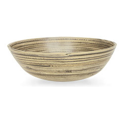 "Natural Bamboo Salad Bowl - 14"" - Seeing as it is ecologically harvested, the Natural Bamboo Salad Bowl is a most worthy receptacle for offering your guests the freshest of victuals: an assortment of fresh greens from a summer garden or a fruit salad of chilled berries and melons. The virescent coloration of the bamboo imparts visual appeal to your eclectic dinnerware."