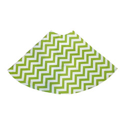 Green Ziggy Tree Skirt - A bright and fun accessory to adorn your holiday tree with, the Green Ziggy Tree Skirt is simply enchanting. Helpful in keeping stray pine needles from the floor and great for a base to stack presents on, this pretty green and white classic zig zag style pattern is sure to garner attention from your holiday guests.