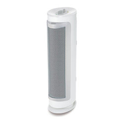 Jarden Home Environment - Holmes Allergen Remover Tower Purifier - Holmes True Hepa Allergen Remover Tower Air uses true Hepa filtration, which is up to 99.97-percent efficient in removing allergens such as pollen, dust, mold, pet dander and smoke from the air passing through it. Unit features 3 speed settings, optional ionizer, and slim tower design. Recommended for rooms up to 150-square-feet.  smoke CADR 100. Replacement filter: HAPF300D-U2. True Hepa filtration removes up to 99.97-percent of airborne allergens from air that passes through the filter.  Washable pre-filter captures larger particles.  3 Speed settings provide options for different conditions, and optional ionizer assists in particle removal.  Filter life monitor alerts you when filter changes are needed to maintain maximum performance.  Recommended for rooms up to 150 square-feet (8-feet by 10-feet).  Smoke CADR: 100