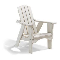 Frontgate - Classic Adirondack Chair - Handcrafted from plantation-grown, kiln-dried southern pine. Wood is pressure treated for long-lasting durability in all climates, including marine environments. Contoured seat and smoothly sanded surfaces and edges. Stainless steel hardware resists corrosion. Manufacturer's limited lifetime warranty against rot, insects and water damage. It's the all-American outdoor chair, seen on boat docks and front porches from coast to coast. Ours is made with extraordinary comfort and character. The authentic Adirondack design is handcrafted in the USA of hand-selected, pressure-treated domestic pine that endures all climates, season after season. The chair's rugged good looks are enhanced with a distressed finish that will continue to weather naturally over time. . .  .  . . Some assembly required .