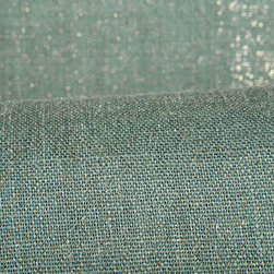 Candlelight Drapery in Zircon - Candlelight 100% Linen Metallic Drapery Fabric in Zircon Blue. This semi-sheer fabric has a glint of gold, perfect for drapes, curtains, or a canopy.  Also available in Jade Green, Ruby Red, Mother of Pearl, Topaz, Carnelian color ways.