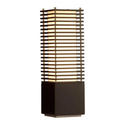 NOVA - NOVA Kimura Accent Table Lamp - A layered tower of elegance, the Kimura table lamp makes a sophisticated statement in a contemporary space. Its square MDF base rises to a pillar of light that is centered between four metal rods to support the encased light pillar and wood slats that create the definitive look of this lamp. With a touch of Oriental style, and a look that is decidedly modern, this lamp is a beautiful light source.Lamp base crafted from quality MDFFinished in glossy blackBrushed nickel accentsTan linen lampshade includedTwo (2) B-10 light bulbs includedMatches the other Kimura lamps