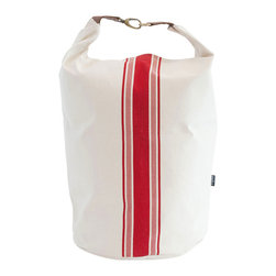 MAIKA - Recycled Canvas Snap and Fold Bucket, Stripe Red - Our canvas buckets are great for display and storage.