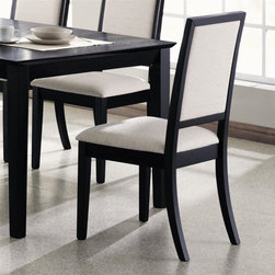 Coaster - Lexton Dining Side Chair - Set of 2 - Set of 2. Crisp sophisticated lines. Creme chenille fabric seat and back upholstery provides comfort. Made from wood veneers and solids. Deep distressed black finish. Seat height: 18 in.. 22.5 in. W x 20 in. D x 39 in. H. WarrantyAccentuate your dining room with the relaxed contemporary style of this side chairs. The casual contemporary styling of the Lexton collection will make a wonderful addition to any home.