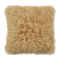 "Z Gallerie - Mongolian Pillow 22"" - Elevate your decor to a new level of sophistication by adding our exceptional Mongolian Pillow to your furniture pieces. The unexpected use of prized Mongolian lamb fur to create our exclusive Mongolian Pillows lends high style to any setting. Our Mongolian Pillows feature plush fur on the front and faux suede leather on the back with a heavy duty zipper closure. Gold color is exclusive to Z Gallerie."
