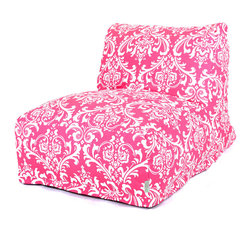 Majestic Home - Indoor Hot Pink and White French Quarter Bean Bag Chair Lounger - Your style is laid-back — literally, with this awesome lounger. A beanbag upgraded to the next level, it offers the ultimate in comfort and easy-care convenience, since the slipcover zips off to toss in the wash.