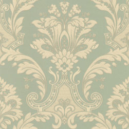 Light Aqua Textured Damask Wallpaper - Give your walls a traditional look with a modern flare with wallpaper from the Regent Collection by Brewster.