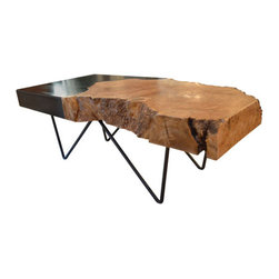 300-160-01 Live Mesh Cocktail Table - Cold rolled steel with a blackened finish legs and top that fades into a live edge, natural Maple burl slab (slab could also be Redwood or Walnut).