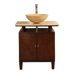 Silkroad Exclusive - 29 in. Lydia Single Sink Bathroom Vanity in E - Interchangeable Travertine Stone Vessel Sink included. Travertine Stone Top included. Cabinet Finish: English Chestnut. Hardware Finish: Antique Brass. Materials: Wood, CARB Ph2 Certified Plywood & MDF Panels, Stone. Distressed Finish. Pre-drilled for Single Hole Faucet(s). Faucet(s) not included. Dimensions: 29 in. W x 22 in. D x 36.5 in. H (119 lbs.)Roman Vein-Cut Travertine Counter Top Single Sink Vanity with an Interchangeable Travertine Stone Vessel Sink. Capturing the timeless beauty of the natural travertine stone, with each piece hand finished to bring out the unique richness of the natural resources of the earth.Disclaimer: Measurements are rounded off. Each of our fine bathroom vanities is a one-of-a-kind masterpiece, detailed with a multi-step hand finishing process. With individual technique and interpretation, no two pieces are exactly the same (color may vary). Individual personality of each stone sink and top are further expressed by anomalies such as veining and coloration, as the nature of stone. Actual color may vary due to individual computer monitor display settings.