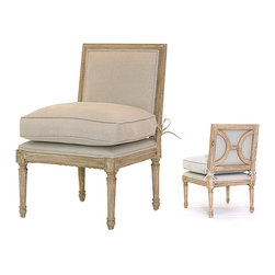 French Slipper Chair - Never be short on seating when you host guests in your traditional home. The French Slipper Chair enhances a corner with its neutral upholstery and simple but elegant molded carving. The back is just as graceful with a crossbar splat behind its padding. A plumply overstuffed tie-on cushion brings an extra note of comfort to the provincial-chic side chair, which has turned legs and a molded frame with a artisan rubbed, natural-wood finish.