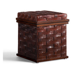 Frontgate - Coco Key Woven Leather Square Box with Lid - Handcrafted by skilled artisans. Keep letters, papers, pens and other items neatly organized. Unifies work area for a professional look. Woven leather adds texture. Magazine rack has integrated handles. Our Woven Leather Desk Accessories are handsomely crafted with handwoven bomber-brown leather and mahogany wood accents. These impressive and functional pieces are suited for the executive suite as well as the home office. . .  . . .