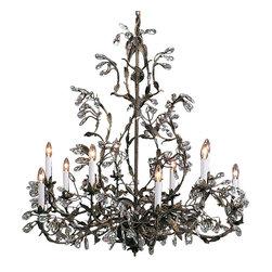 """Inviting Home - Wrought Iron Chandelier with Swarovski Crystal - ten-light wrought iron and Swarovski crystal chandelier; 33-1/2"""" x 35; hand-crafted in Italy; Ten-light wrought iron and Swarovski crystal chandelier drops on a burnished hand wrought iron frame. Hand-crafted in Italy. UL approved - dry location; hardwire; 10x 60W max. candelabra bulds; bulbs not included. Approx. 6 feet of chain/wire drop provided. Handcrafted in Italy."""