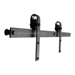 """Agave Ironworks [RH001-5] Wrought Iron Rolling Track Barn Door Hardware Kit - This wrought iron overhead flat track rolling door hardware kit includes all necessary components to hang 1 door. This kit is a basic smooth wheel carrier design with a 5' overhead flat track with a 1 3/8"""" standoff in brown rust, dark bronze, flat black or red rust powder coat finish."""