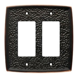Liberty Hardware - Liberty Hardware 144030 Hammered WP Collection 5.2 Inch Switch Plate - A simple change can make a huge impact on the look and feel of any room. Change out your old wall plates and give any room a brand new feel. Experience the look of a quality Liberty Hardware wall plate. Width - 5.2 Inch, Height - 5.2 Inch, Projection - 0.28 Inch, Finish - Bronze W/Copper Highlights, Weight - 0.57 Lbs.