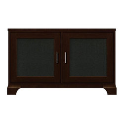 Howard Miller Custom - Dora Cabinet w 2 Speaker Grill Panel Doors in Espresso - This cabinet is finished in Espresso on select Hardwoods and Veneers, with Nickel hardware. 2 doors with speaker grill panels. 2 adjustable interior shelves. Flat profile top and cove profile base. Hardware: bar pulls on doors. Features soft-close doors and metal shelf clips. 48 1/4 in. W x 16 in. D x 29 3/4 in. H
