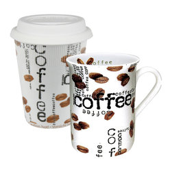 Konitz - Set of 2 'To Stay' Mug and 'To Go' Travel Mug Coffee Collage - Give your morning joe an extra jolt with the Coffee Collage collection. The cool, contemporary style of Coffee Collage To Stay & To Go Mugs consists of white porcelain sprinkled inside-and-out with photo-realistic coffee beans and black 'Coffee' lettering. Whether you're enjoying your java at home or on the go, you'll love the sleek style of these trendy mugs.