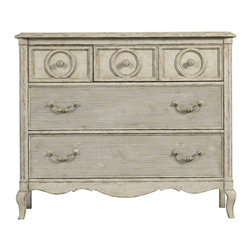 Stanley Furniture - Arrondissement Rond Media Chest, Vintage Neutral Finish - No need to shy away from modernity. The Rond Media Chest is the ideal way to house your contemporary media needs in a fashion that suits your elegant aesthetic. With one fold down drawer front and four drawers, equipment is accessible, yet discretely hidden. An electrical outlet completes the chest's functionality, while never marring its beauty. Made to order in America.