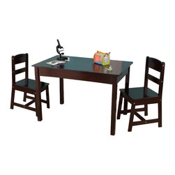 KidKraft - Rectangle Table and 2 Chair Set, Espresso by Kidkraft - Our Rectangle Table & 2-Chair Set gives kids a perfect workspace for playing with their favorite toys, working on homework or even enjoying a quick snack. This furniture set is made of solid wood and was built to last.