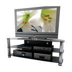 """Sonax - Sonax Metal and Glass TV Stand for up to 65"""" TV's - Sonax - TV Stands - NY9584 - Shinning with a sleek gun metal finish from the New York Collection this television stand incorporates style with class. The NY-9584 uses an open storage area to keep your components at their optimal temperature. The cable management system helps you organize your wires and keeps them out of sight. The black tempered glass fuses perfectly with the gun metal uprights. This TV Stand accommodates most HD TV's up to 65"""". Bring home this contemporary furniture by Sonax proudly built in North America.  Features:"""