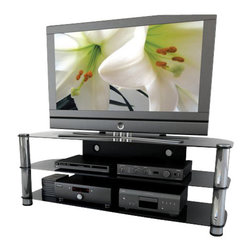"Sonax - Sonax Metal and Glass TV Stand for up to 65"" TV's - Sonax - TV Stands - NY9584 - Shinning with a sleek gun metal finish from the New York Collection this television stand incorporates style with class. The NY-9584 uses an open storage area to keep your components at their optimal temperature. The cable management system helps you organize your wires and keeps them out of sight. The black tempered glass fuses perfectly with the gun metal uprights. This TV Stand accommodates most HD TV's up to 65"". Bring home this contemporary furniture by Sonax proudly built in North America.  Features:"