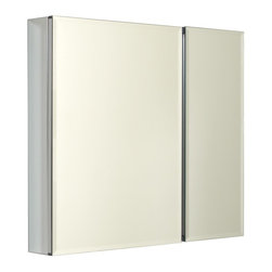 Whitehaus Collection - Whitehaus Double Two Sided Mirrored Door Medicine Cabinet (WHCAR-42-ALUM) - Whitehaus WHCAR-42-ALUM Double Two Sided Mirrored Door Medicine Cabinet, Aluminum